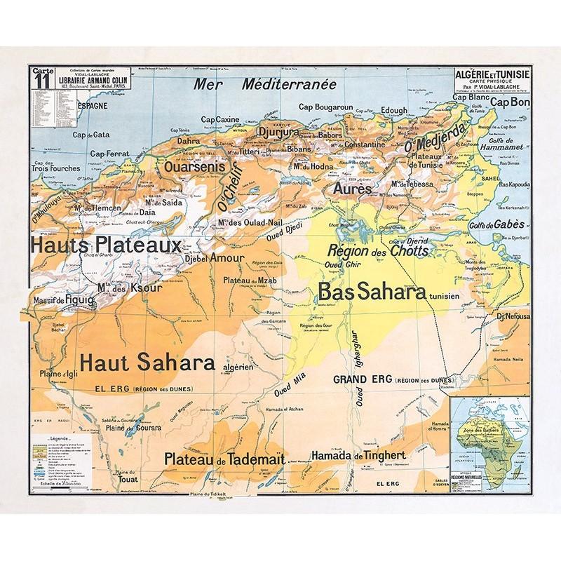 Carte Vidal Lablache 11 - ALGERIE ET TUNISIE PHYSIQUE (reproduction ancienne carte scolaire)