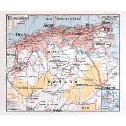 Carte Vidal Lablache 11 BIS - ALGERIE ET TUNISIE POLITIQUE (reproduction ancienne carte scolaire)