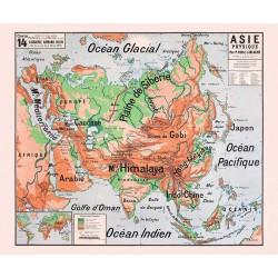 Carte Vidal Lablache 14 - ASIE PHYSIQUE (reproduction ancienne carte scolaire)